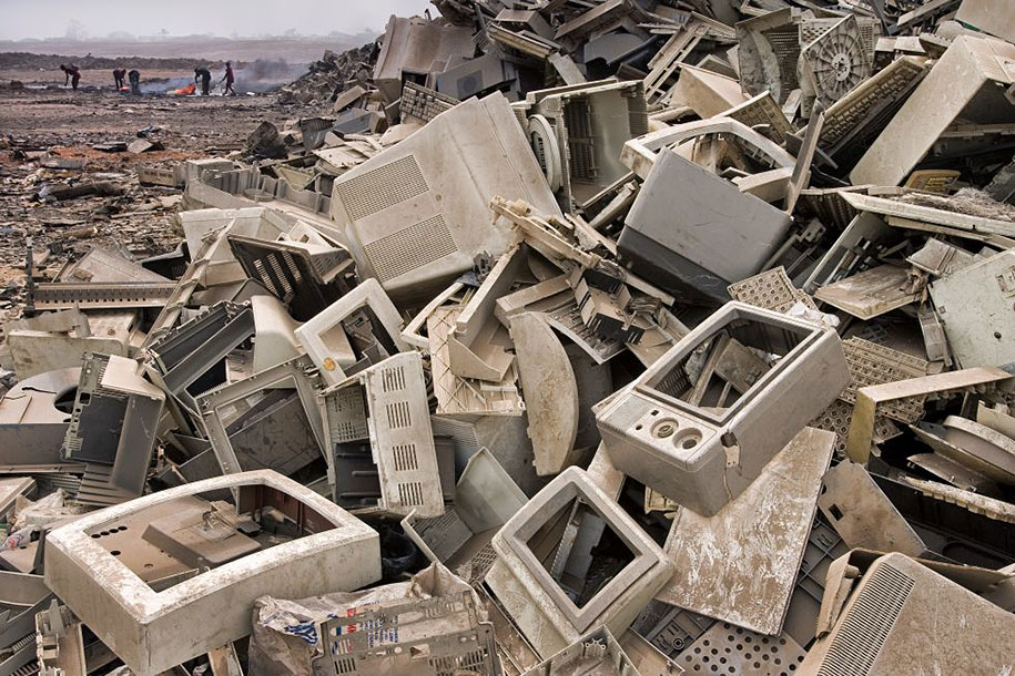 Electronic trash ends up in Third-World countries, like this landfield in Accra, Ghana.
