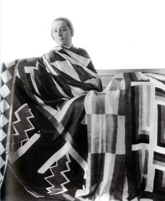 Sonia Delaunay with scarves she designed, 1923.