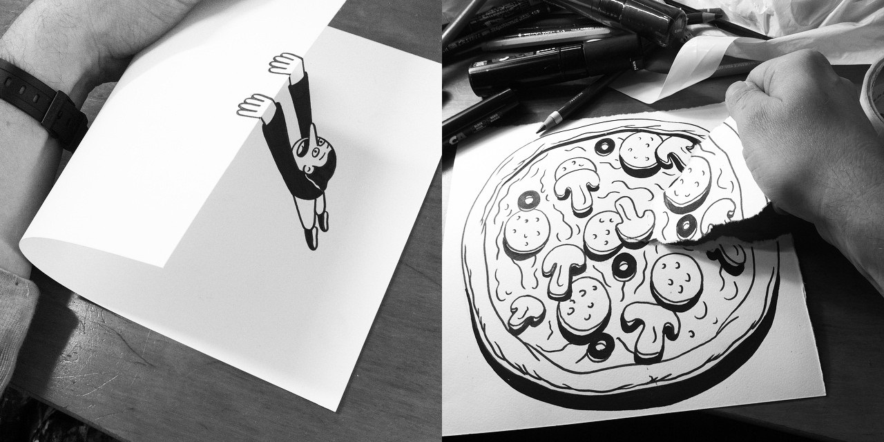 Simple black and white 3d sketches by huskmitnavn art sheep