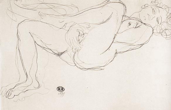 auguste-rodin-liegende-nakte-frau-mit-einer-hand-unter-ihrem-erhobenen-bein-fingert-an-ihre-hot-vagina-masturbation