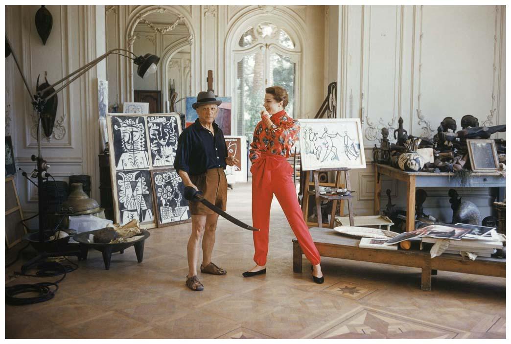 Portrait of Pablo Picasso with Bettina Graziani by Mark Shaw, Villa La Californie, Cannes