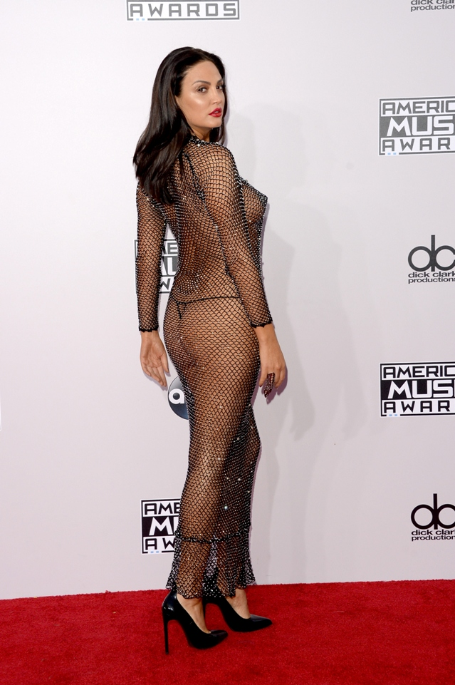 Bleona-Qereti-2014-AMAs-Fishnet-Nude-Dress-Back