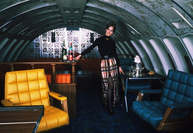 Boeing 747 publicity shot; United Stewardess, early 1970s