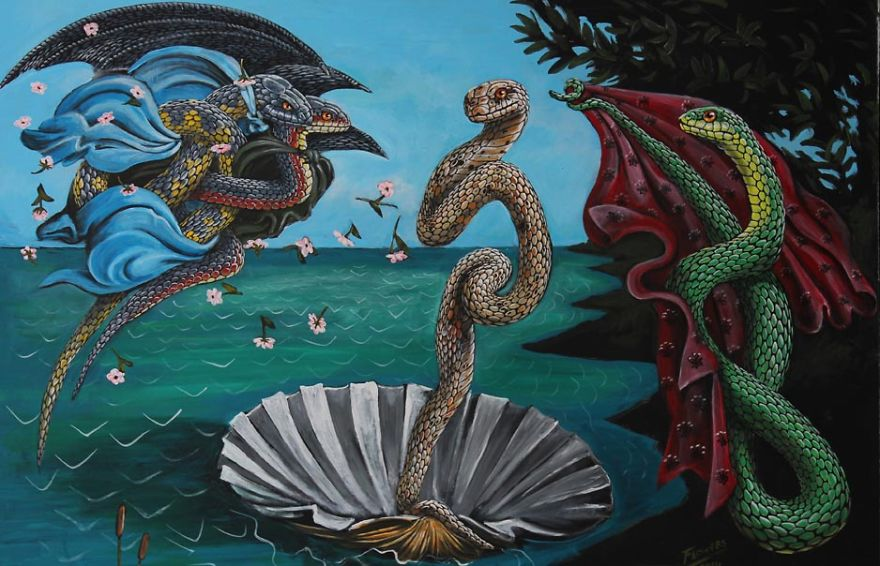 Snakes Take Over The Most Famous Paintings in The History of