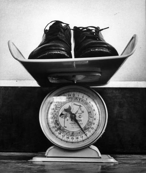 Shoes that weigh 12 lbs. to hold groom steady.
