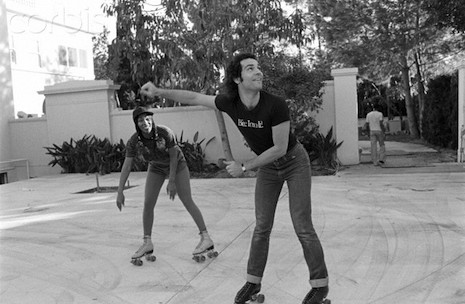 Donna Summer, at home, Los Angeles, roller skating with husband Bruce Sudano --- Image by © Neal Preston/Corbis