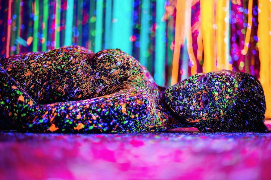 Body Painted Women In A Majestic Color Installation Art