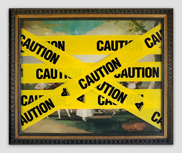 Caution-Goya---mixed-media-on-found-print-and-frame---2010---21-x-25,5-x-1,5---003