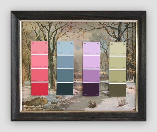 Know-Your-Color-Charts--Winter,-Spring,-Summer,-Autumn-(Four-Panels)-(1)---paint-store-color-samples-on-found-prints---2010---each-panel-13-x-16-x-1---002