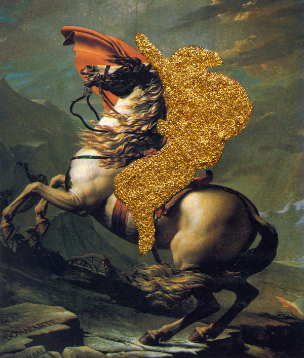 Napoleon-Deleted---glitter-on-found-print---2010---4,5-x-4---002
