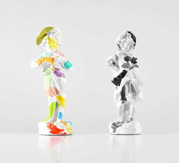 Sculptures-of-a-Boy-and-Girl-With-Paint-Tests-(Diptych)-1-and-2---paint-on-found-ceramic---2014---11-x-4-x-3---003