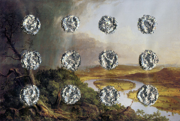 Thomas-Cole's-Oxbow-With-12-Piles-Of-Silver-Glitter---glitter-on-found-print---2010---5,25-x-7,75---002