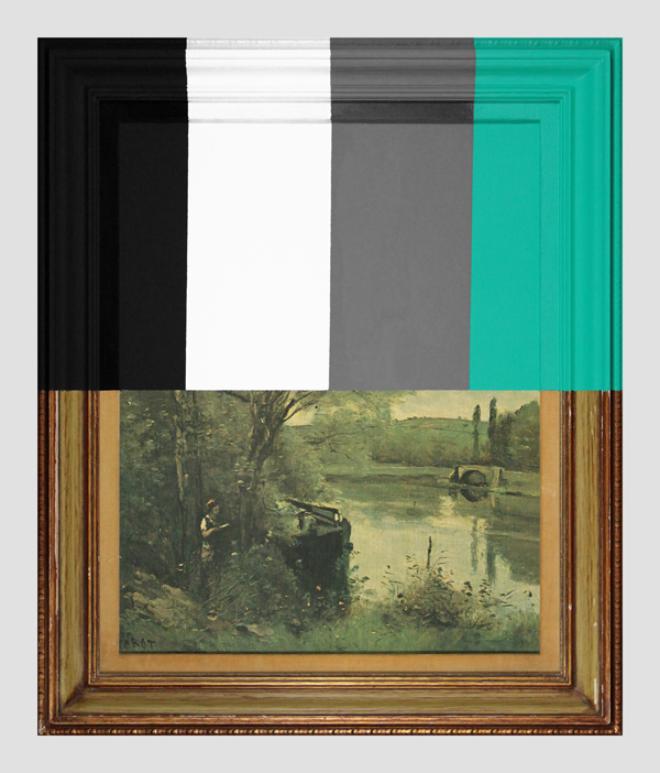 Thrift-Store-Landscape-With-Large-Bars---paint-on-found-print-and-frame---2013---28-x-23,5-x-1,5---007