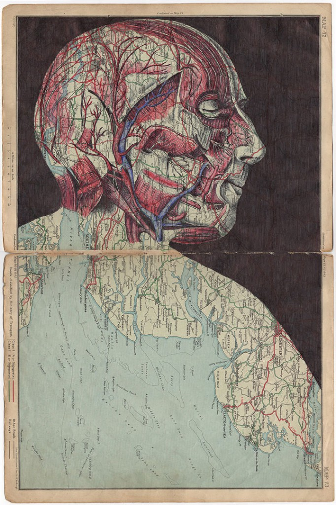 Ballpoint Pen Illustrations On Vintage Envelopes And Maps