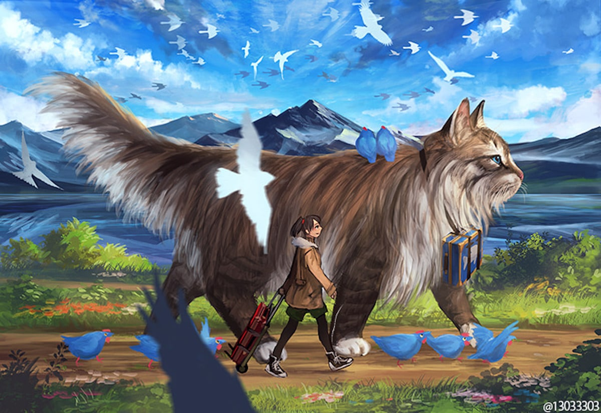 fantasy giant animals digital humans japanese paintings sheep painting among artists cats drawings gentle cat artist creatures imagines forest mymodernmet