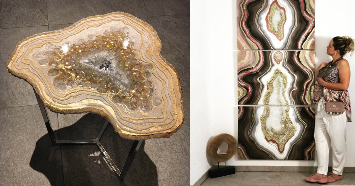 Ashtonishing Geode Wall Art And Furniture Made Out Of Poured Resin Art Sheep